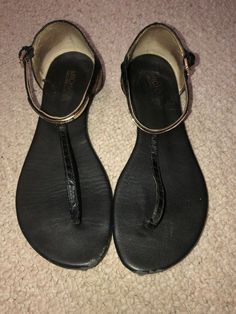 9cdef39d9b741 Michael Kors T-Strap Black Size 8 M  fashion  clothing  shoes  accessories   womensshoes  sandals (ebay link)