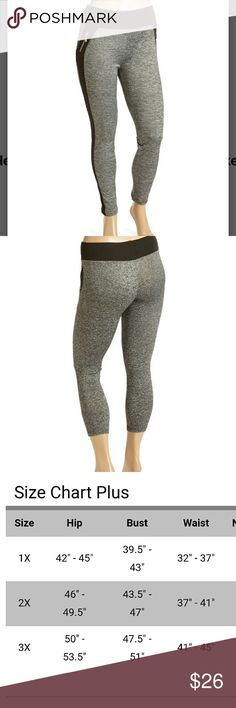 COMING SOON! Gray Contrast Sporty Leggings So comfortable and flattering to the figure! 92% polyester and 8% spandex. Zipper pockets. 1x fits 14/16. 2x fits 18/20. 3x fits 22/24. 29 in inseam. Pants Leggings