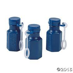 Hexagon Navy Blue Bubble Bottles