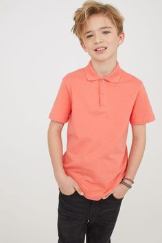 Polo Shirt | Orange | Kids | H&M US Pretty Boys, Cute Boys, Kids Boys, Boy Models, Child Models, Cute Kids Fashion, Teen Fashion, Cute Blonde Boys, Beauty Of Boys