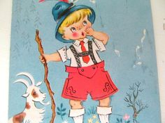 Vintage 1950s Unused Get Well Card Little Swiss Boy by annegraham, $4.50