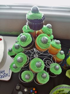 """Ran out of time, but really wanted to add a green """"x"""" to the silver gumballs to look like the button on the x-box controller. Boy Birthday, Birthday Parties, Birthday Ideas, Birthday Cake, Video Game Party, Party Games, Xbox, Gumball, Special Events"""