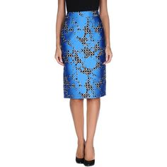 Balenciaga Knee Length Skirt ($425) ❤ liked on Polyvore featuring skirts, azure, patterned skirt, blue print skirt, colorful skirts, jacquard skirt and knee length skirts