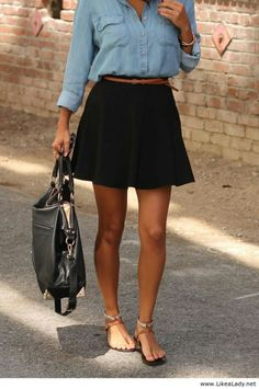Simple style with black skirt