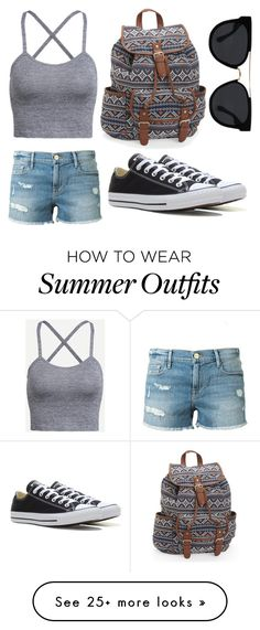 """Summer outfit for women"" by hasekopf on Polyvore featuring Frame Denim, Converse, Aéropostale and Quay"
