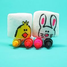 Let kids decorate marshmallows at easter dinner instead of eggs--no big dye mess on nice easter clothes. Perhaps the greatest idea ever?