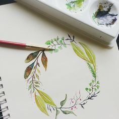 My first water color wreath, not that good, needs to be more comfortable doing it #calligrafikas #dreweuropeo #grafikas #watercolor #wreath #calligraphy