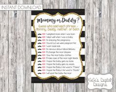 Black White Gold Baby shower game, Printable Shower games, Mommy or Daddy Baby Shower Quiz, Instant Download, Baby Shower Phrases Game