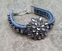 cool Denim bracelet, upcycled denim, recycled jeans, upcycled jeans, repurposed jeans, denim jewelry, rhinestones