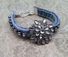 cool Denim bracelet, upcycled denim, recycled jeans, upcycled jeans, repurposed jeans, denim jewelry, rhinestones