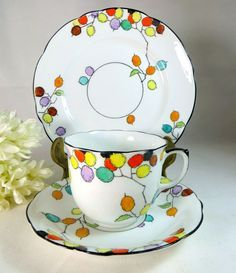 Art Deco Trio, Foley China Bright Berries Cup, Teaplate & Saucer Set, Hand-Painted Red, Yellow and Black 1930s