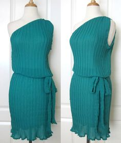 Teal Pleated One Shoulder Chiffon Dress with Sash Belt with by SunnyStyleFashion