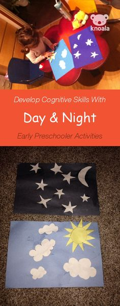 #Knoala Early Preschooler activity 'Day & Night' helps little ones develop Cognitive and Motor skills in just 10 mins. Click for simple instructions & 1000s more fun, easy, no-prep activities for kids ages 0-5! #activities #DIY