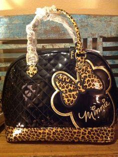 Loungefly Disney Mini Mouse Patent Embossed Tote Purse Bag,Black Leopard . #loungefly #TotesShoppers Cute Handbags, New Handbags, Mini Handbags, Satchel Purse, Purse Wallet, Disney Purse, Mini Mouse, Disney Merchandise, Disney Style