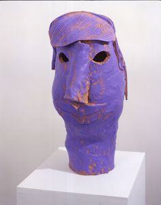 """Ruby Neri, """"Empty Eyes"""", ceramic with acrylic paint, 25 x 13 x 18 inches. Ceramic Figures, Ceramic Artists, Clay Faces, Purple Art, Ceramic Clay, Figurative Art, Love Art, Art Reference, Contemporary Art"""