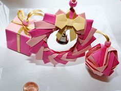 Origami Christmas Ornament.Pink Paper by ThePaperDecor on Etsy