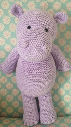 Happy Hippo – Free Crochet / Amigurumi Pattern (Heart & Sew) Is a hippopotamus really a hippopotamus or just a very cool opotamus? Crochet your very own cool, cuddly pal complete with bobble fingers and toes! Crochet Hippo, Crochet Gratis, Crochet Amigurumi, Cute Crochet, Amigurumi Doll, Crochet Animals, Crochet Dolls, Knit Crochet, Crochet Stuffed Animals