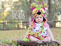 Pink Berry Owl Hat PDF Crochet Pattern by IraRott Inc.
