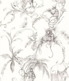 Barbary Toile by Nina Campbell - Charcoal - Wallpaper : Wallpaper Direct Aqua Wallpaper, Blue And White Wallpaper, Oriental Wallpaper, Charcoal Wallpaper, Monkey Wallpaper, French Wallpaper, Chinese Wallpaper, Blue Wallpapers, Animal Wallpaper