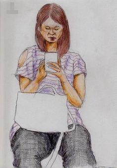 肩に穴が空いたTシャツのお姉さん(通勤電車でスケッチ) It is a sketch of a woman wearing a red shirt horizontal stripes pattern.  I drew in a commuter train.