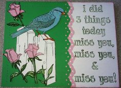 Bird n Roses Rubber Stamp and Miss You Rubber Stamp, card by Rachel M.