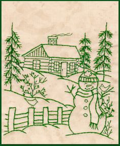 Northwoods Memories Snowman with Cardinals - Redwork Hand Embroidery Pattern by Beth Ritter - Instan Embroidery Designs, Simple Embroidery, Learn Embroidery, Silk Ribbon Embroidery, Hand Embroidery Patterns, Embroidery Applique, Cross Stitch Embroidery, Machine Embroidery, Embroidery Thread