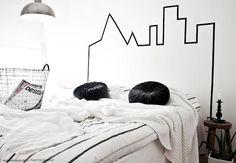 Bed headboard, DIY, With Washi tape Cool Headboards, Headboard Ideas, Tufted Headboards, Washi Tape Wall, Masking Tape, Washi Tape Headboard, Make Your Own Headboard, Decoracion Low Cost, Black Headboard