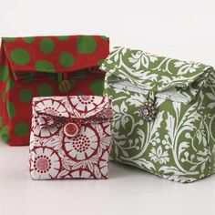 """We don't know which is more fun-choosing the fabrics for these """"lunch sack"""" gift bags or planning what treats they'll contain. For the closure, use a covered button, two or more stacked buttons, or vintage costume jewelry."""