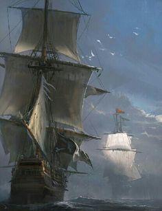 Pirate ship being pursued . Concept Art by Martin Deschambault <3 <3