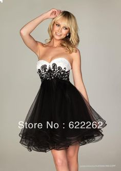 e8f4695d08 Empire Waist A Line Sweetheart Mini Short Organza Pleated Sleeveless White  And Black Low Back Cocktail