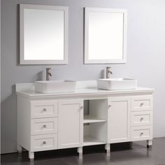 Ado Artificial Stone Top 72 inch Double Sink Bathroom Vanity with Dual Matching Mirrors in White, Two white rectangular ceramic sinks, Six soft closing drawers Discount Bathroom Vanities, Bathroom Vanity Units, White Vanity Bathroom, Wood Bathroom, Bath Vanities, Bathroom Cabinets, Sinks, Modern Bathroom, Double Sink Vanity