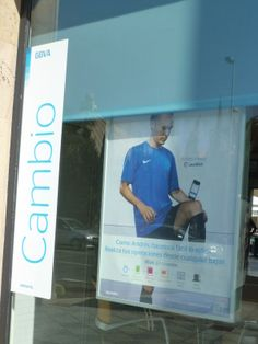 Iniesta selling something else other than ice cream?! Spotted in the window of a bank.
