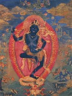 """Nairatmya She Without Ego Consort of Hevajra "" her blue body the color of infinite space. her kartika skyward, poised to sever negative mind-states wherever they arise."