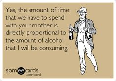 Free, Confession Ecard: Yes, the amount of time that we have to spend with your mother is directly proportional to the amount of alcohol that I will be consuming.