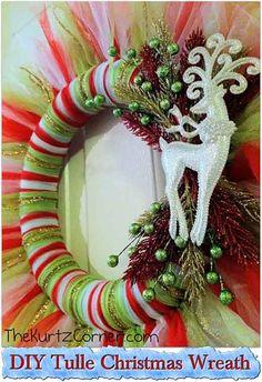 DIY Tulle Christmas Wreath - See more stunning DIY Chrsitmas Wreath ideas at DIYChristmasDecorations.net!