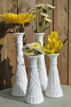 Milk Glass Vintage Vases-Set of Four - For Wedding Reception centerpiece, Bridal or Baby Shower, Special Celebrations by ClassicCabin on etsy