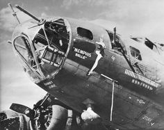 "Today in 1943: The Memphis Belle visited Memphis, Tenn., the first stop on the war bond tour. The pilot, Capt. Robert Morgan visited with his ""Memphis Belle,"" Margaret Polk. The Belle is currently undergoing restoration at the museum, and plans call for it to be placed on display in May 2018."