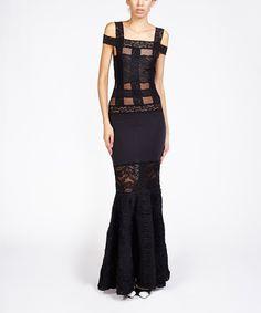 Look what I found on #zulily! Kiki Riki Black Crosshatch Lace Gown by Kiki Riki #zulilyfinds