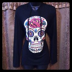Gorgeous Sugar Skull Black Hoodie Tunic Top  This is gorgeous!! It was worn once for an event and is in excellent condition. Very soft, stretchy fabric. Semi-sheer so you'll want to wear a tank underneath or a cute bra! Size XL but fits more like a true size large. Must have for a sugar skull lover.  Tops