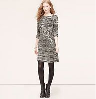 """Leaf Print Long Sleeve Dress - A striking dropped leaf print - and pretty pleating at the waist - makes this super soft style an endless flatterer. Boatneck. Long sleeves. Pleated at side waist. Back zip. Lined. 22"""" from natural waist."""
