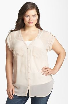 Lily White Lace Back Chiffon Top (Juniors Plus) available at #Nordstrom