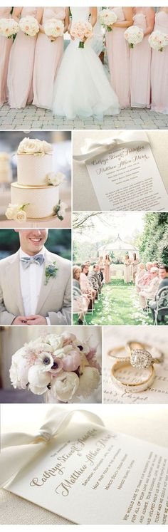Letterpress printed wedding programs. Blush Wedding