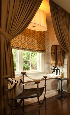 Wolfe Rizor Interiors - Eclectic bathroom with Barbara Barry Simple Scallop Pendant, ...
