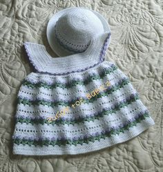 Baby Crochet Pattern Dress and Bonnet 18 to 24 door SugarToeBabies