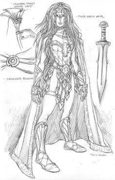 Wonder Woman warrior cosplay sketch by Tess Fowler