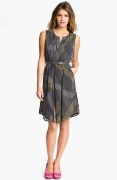 Halogen Belted Pleat Front Dress