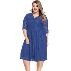Blue Lace V Neck Curvy Plus Size Dress - Fierce Finds Mobile Boutique  - 1