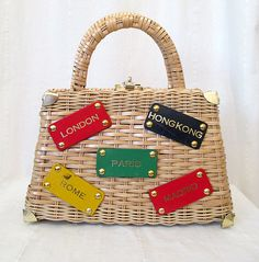 Adorable 1950's Straw Woven Purse w/ Travel by wearitagain on Etsy, $125.00