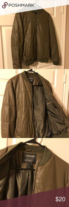 Men's Bomber Jacket Men's size small. Army green padded bomber jacket. Faux leather outer and padded inner with pocket on inside. No flaws, great condition. 21men Jackets & Coats Bomber & Varsity