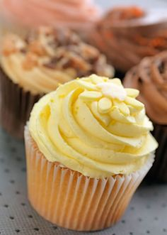 #dessert #cupcake #frosting Discover how to make lovely lemon chiffon cupcakes. The recipe is so easy. You just have to blend the ingredients together and bake them. The frosting is also very simple to make and to use.